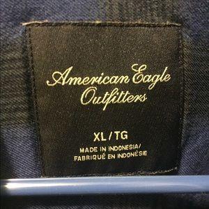American Eagle Black/Blue Plaid Shirt